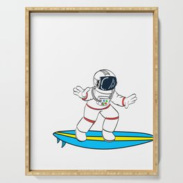 Are You A Fan Of Astronomy? An Astronaut Dreamer? Here's An Antronaut T-shirt Surfing on Space Wave Serving Tray