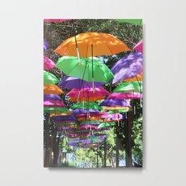 Rainbow Umbrellas Metal Print