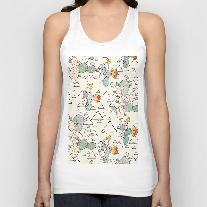 Prickly Pear Cacti and Triangles Unisex Tanktop