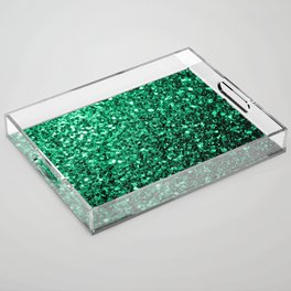 Beautiful Emerald Green glitter sparkles Acrylic Tray