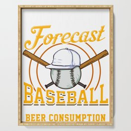 Weekend Forecast Baseball with Beer Consumption Serving Tray