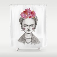 frida kahlo Shower Curtains featuring Frida Kahlo by Maripili