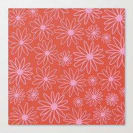 Pretty Floral Pattern - Pink, Red Canvas Print