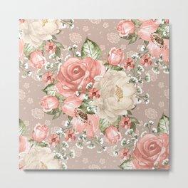 Peach Blush Vintage Watercolor Floral Pattern Metal Print