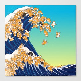 Shiba Inu in Great Wave Canvas Print