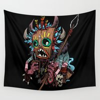 tiki Wall Tapestries featuring tiki hunter by katun
