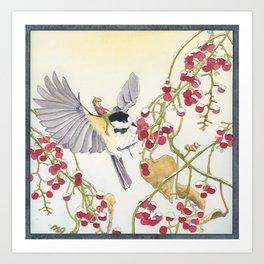 The Elfling and the Chickadee Art Print