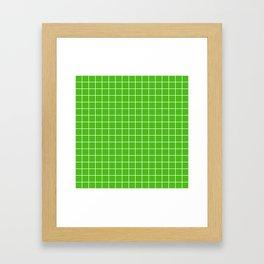 Kelly green - green color - White Lines Grid Pattern Framed Art Print
