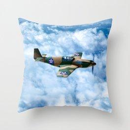World War II Fighter Plane In Flight - Vintage P-51 Mustang Throw Pillow