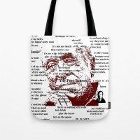 bukowski Tote Bags featuring Charles Bukowski by brett66