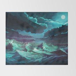 moonlit stormy sea Throw Blanket