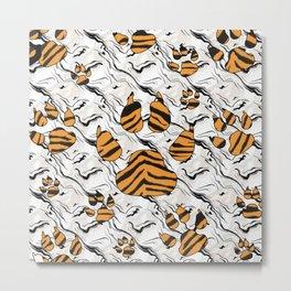 Orange Tiger Print Animal Tracks Pattern Design Metal Print