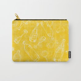 Bottles&Glasses Yellow Carry-All Pouch