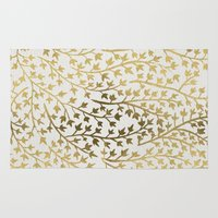 metallic Area & Throw Rugs featuring Gold Ivy by Cat Coquillette