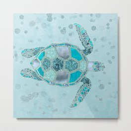 Glamour Aqua Turquoise Turtle Underwater Scenery Metal Print
