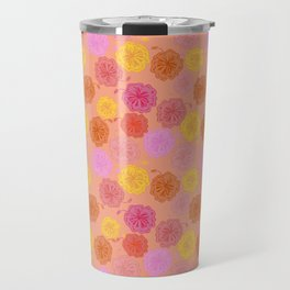 Hibiscus Hawaiian Flowers in Pinks and Corals on Peach Travel Mug