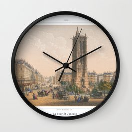 Paris art print Paris Decor office decoration vintage decor TOUR SAINT JACQUES of Paris Wall Clock