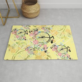 Bicycle with floral ornament Rug