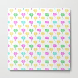 Cute and Colourful Elephant Pattern Metal Print