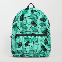 Ginkgo Biloba linocut pattern MINT GREEN Backpack
