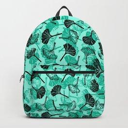 Ginkgo Biloba linocut pattern MINT GREEN Backpack