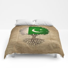Vintage Tree of Life with Flag of Pakistan Comforters
