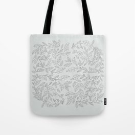 Modern English Leaves Embroidery Pattern Tote Bag