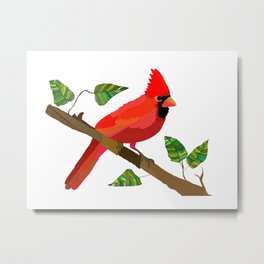 Cardinal On a Branch Metal Print