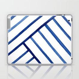 Watercolor lines pattern   Navy blue Laptop & iPad Skin