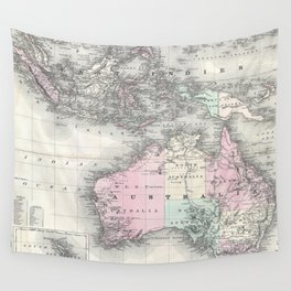 Vintage Australia & Southeastern Asia Map (1870) Wall Tapestry