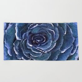 Blue Rose Beach Towel