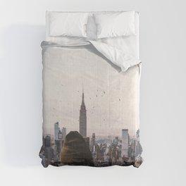 Above New York City-Skyline Views and Birds Comforters