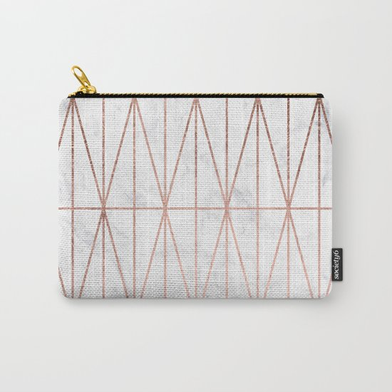 Modern geometric triangles faux rose gold pattern on white marble Carry-All Pouch