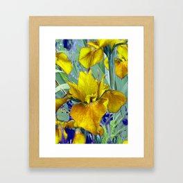 Decorative Mustard Yellow Iris Garden Art Design Framed Art Print