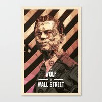 wolf of wall street Canvas Prints featuring The Wolf Of Wall Street by Messypandas
