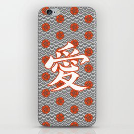 Eastern Love POPPY RED / Japanese character for love iPhone Skin