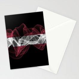 Latvia Smoke Flag on Black Background, Latvia flag Stationery Cards