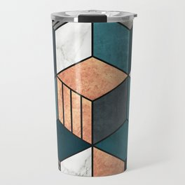 Copper, Marble and Concrete Cubes 2 with Blue Travel Mug
