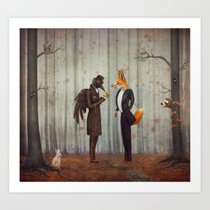 Raven and Fox in  a dark forest looking at the watch Art Print