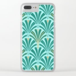 Art Deco Fan Pattern Turquoise on Aqua Clear iPhone Case