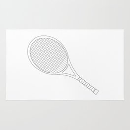 Tennis Racket Outline Rug