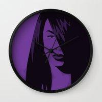 aaliyah Wall Clocks featuring Aaliyah by BrandonRedenius