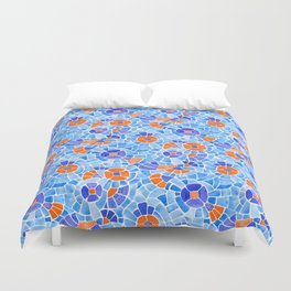 Andean Flowers (Blue & Orange) Duvet Cover