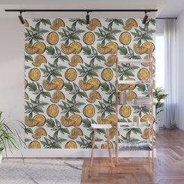 Seamless hand drawn orange pattern Wall Mural