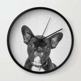 Bulldog Puppy - Black & White Wall Clock