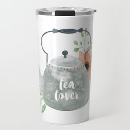 Watercolor Flower Teapot Travel Mug