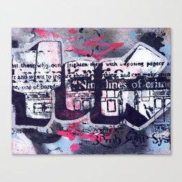 Yok 9 Lines Throwie Canvas Print