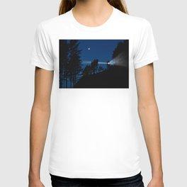 Moon over Heceta Head Light. T-shirt