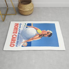 1948 Monte Carlo Bathing Beauties Monaco Travel Poster Rug