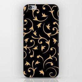 Baroque Design – Gold on Black iPhone Skin